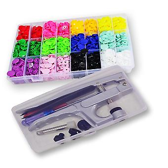 Snap Pliers +360 Set T5 Snap Poppers Plastic Buttons 24 Colors (t5 Buttons + Plier Set)