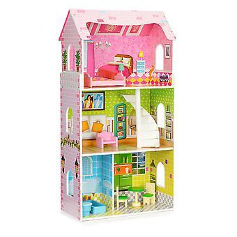 Hoog houten poppenhuis + ECOTOYS meubelen