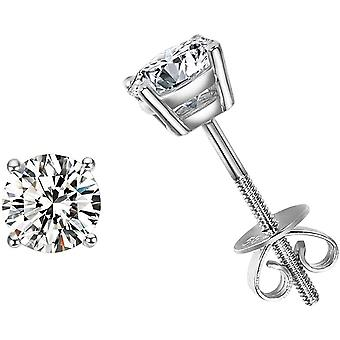FANCIME Solid 585 Gold 14ct White Gold 4-Prong Stud Earrings For Women Girls