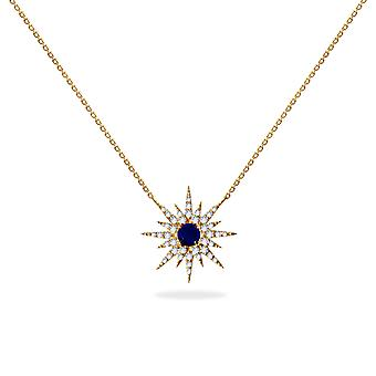 Necklace Super Nova 18K Gold, Diamonds and Precious Stones - Ruby | Sapphire | Emerald - Yellow Gold, Sapphire
