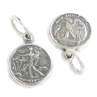 Walking Liberty Halv dollar Liten Sterling Silver Charm .925 X 1 Charms - 4224