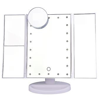 YANGFAN سطح المكتب ماكياج مرآة ثلاثية أضعاف عكس مع أضواء LED