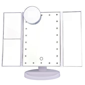 YANGFAN Desktop Makeup Mirror Tri-fold Reversible with LED Lights