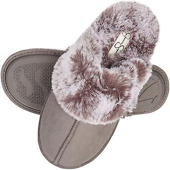 Jessica Simpson Women's Comfy Faux Fur House Slipper Scuff Memory Foam Slip o...