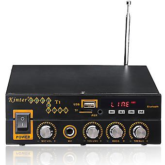 Kinter T1 2X25W Digital bluetooth Stereo Amplifier Support TF FM USB Microphone EU 12V/220V
