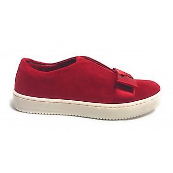 Women's Shoes Aurora Sneaker Suede Suede Col. Red With Red Bow D18au09