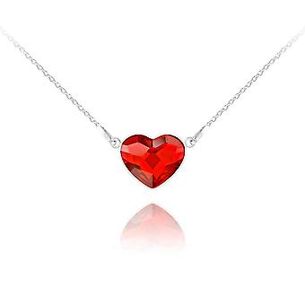 Light siam silver  heart  necklace