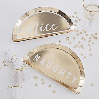 Naughty or Nice Gold Paper Party Plates - Vaisselle de Noel x 8