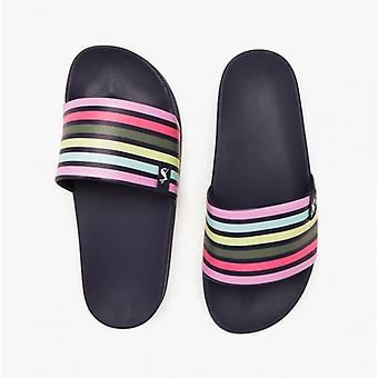 Joules poolside señoras slide sandalias de rayas multicolores