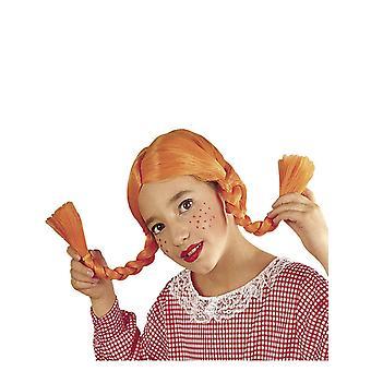 Oranje meisje vlecht pruik