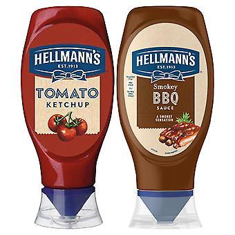 Hellmann's Tomaten Ketchup & Smokey BBQ Sauce, 1 von jeder Squeezy Flasche, 430ml