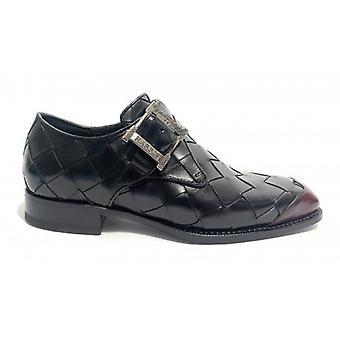 Harris Shoes Wide Black and Dot Hand Weave Buckle Red U17ha132