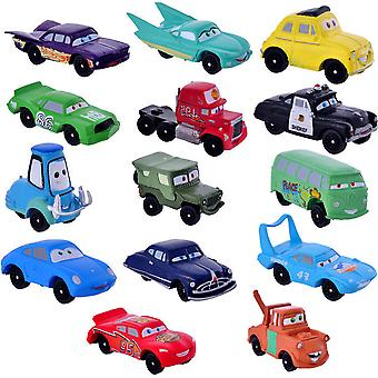 14pcs Mini Racing Cars Cartoon Lighting Mcqueen Wheel Movable Car Toy Model Cake Decoration