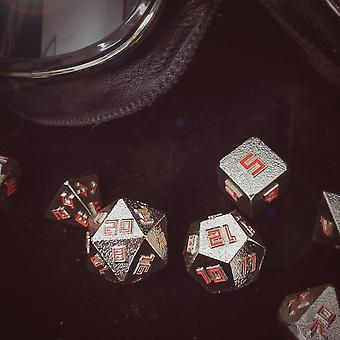 Terminator - 7 Piece Silver And Red Metal Dice Set