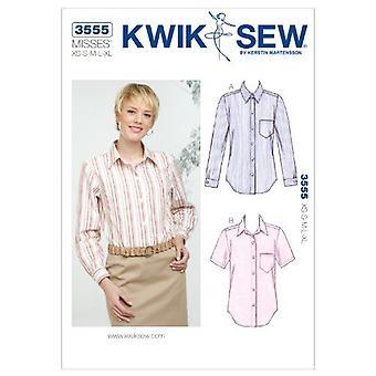 Kwik Sew Sewing Pattern 3555 Misses Shirts Size XS-S-M-L-XL