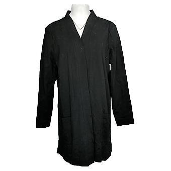 Isaac Mizrahi En direct! Women's Sweater Open Knit Cardigan Noir A374242