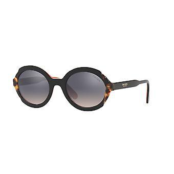Prada SPR17U 5ZWGR0 Top Czarny Różowy-Średnia Hawana/Różowy Gradient Fioletowe Lustro Srebrne Okulary przeciwsłoneczne