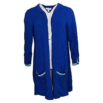 Susan Graver Dames's Sweater Katoen Vest Haak Trim Blauw A351017