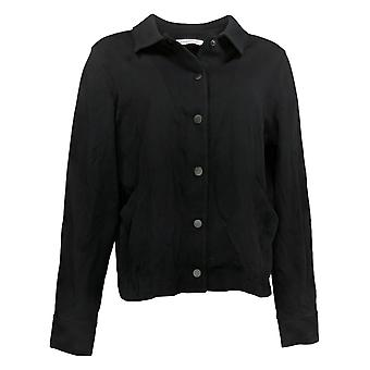 Isaac Mizrahi En direct! Women's Snap-Front Bomber Jacket Noir A384570
