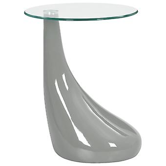 vidaXL sivupöytä pyöreä lasilevy korkea kiilto harmaa