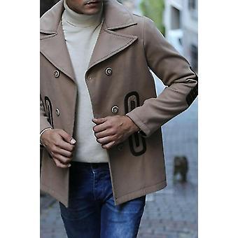Beige double breatsed cachet coat