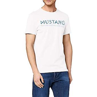 MUSTANG Aaron C Print T-Shirt, Beige (Cloud Dancer 2020), Large Men