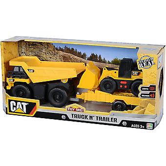 Toy state - cat - truck & trailer with sound - dump truck with wheel loader