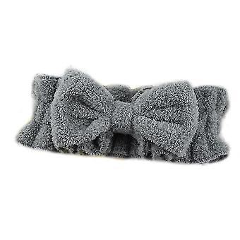 Grå bue hår band med pjusket elastisk ansigt vask pandebånd x4739