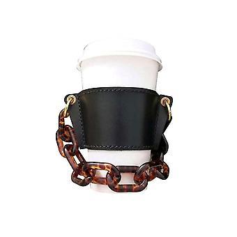 Étui en verre portable en cuir noir etnquin détachable emballage en cuir x1820