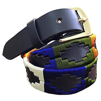 Carlos díaz premium de cuero marrón bordado diseñador flaco gaucho polo cinturón awo16677
