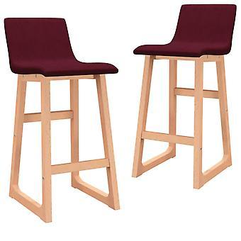 vidaXL bar stool 2 pcs. wine red fabric