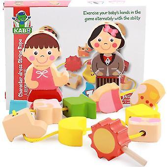 Ahşap çocuk boncuklu oyuncaklar, ebeveyn-çocuk erken eğitim eğitim oyuncakları