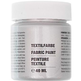 Metallic Silver Fabric Paint for Light Fabrics - 40ml