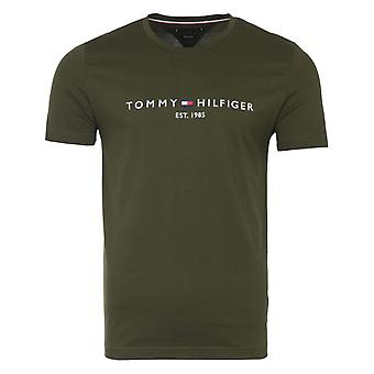 Tommy Hilfiger Embroidered Logo Organic Cotton T-Shirt - Olivewood