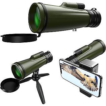 تلسكوب أحادي، 10-30x50 HD ترقية عالية الطاقة BAK4 المنشور ماء Monocular، مع حامل الهاتف الذكي وحامل ترايبود لمشاهدة الطيور التخييم الصيد حفل السفر لعبة الكرة،(الجيش الأخضر)