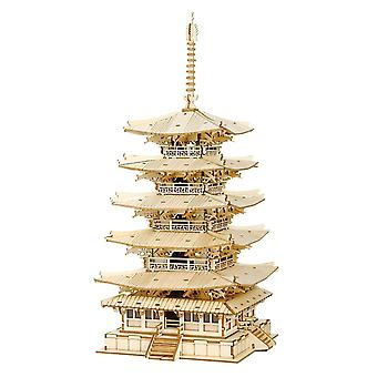 Diy 3d viisi-storied pagoda puinen pulmapeli