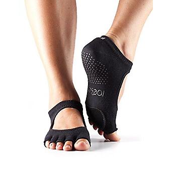 Toesox Full Toe Plie Dance Inspired Grip Socks With Leather Pad - Black