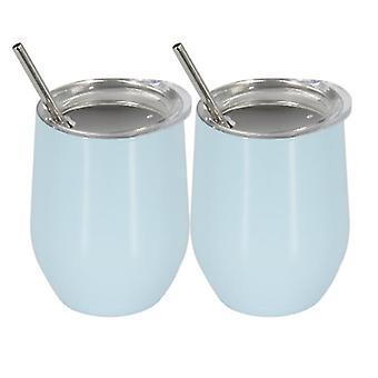 الفولاذ المقاوم للصدأ قارورة معزولة، 350ml القدح الصلب، 2 قطعة كوب القهوة مع القش (الأزرق الفاتح)