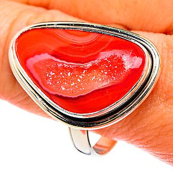 Grande bague rouge en agate Druzy Taille 12.75 (argent sterling 925) - Bijoux vintage boho faits à la main RING77746