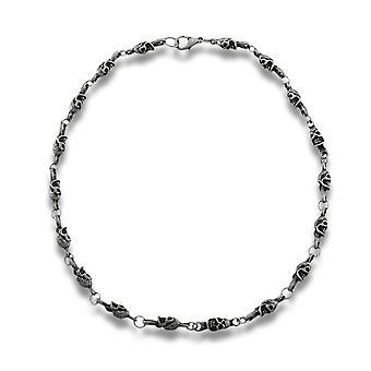 Matte Pewter Finish Industrial Skull Link Necklace