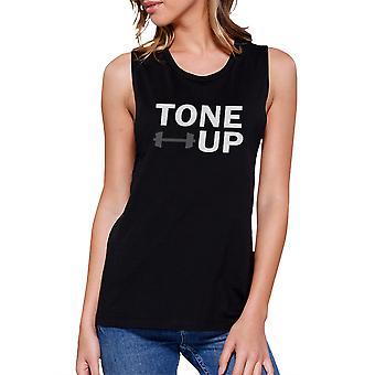 حتى العضلات أسود أعلى الدبابة لياقة العضلات بلا اكمام القميص لهجة