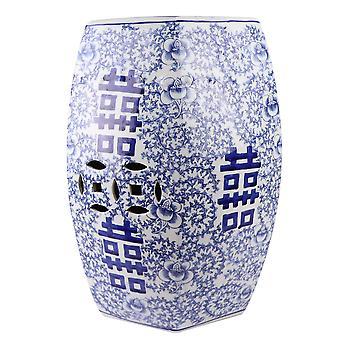 Fin AsiatiskLiving Keramisk Hage Krakk Blå Hvit Håndmalt Dobbel Lykke D33xH45cm