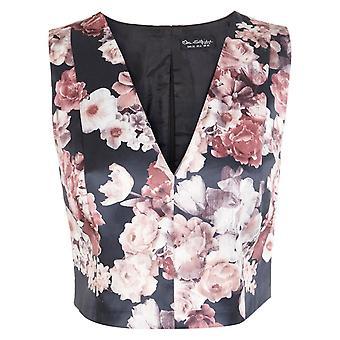 Miss Selfridge Evening Satin Floral V-Neck Cropped Sleeveless Top UK SIZE 12