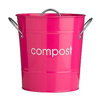 Premier Housewares Metal Compost Bin with Plastic Liner, Hot Pink