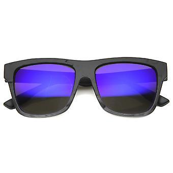 Unisex hoorn omrande zonnebril met UV400 beschermd gespiegelde Lens