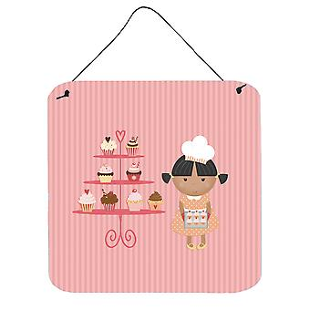 Cupcake Baker African American Pink Wall or Door Hanging Prints