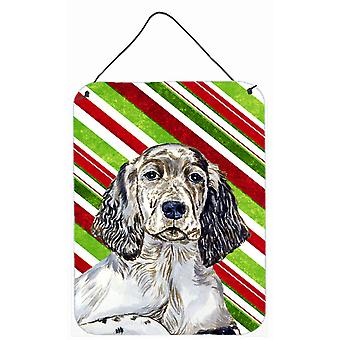 Setter inglês Candy Cane férias Natal parede ou porta pendurada imprime