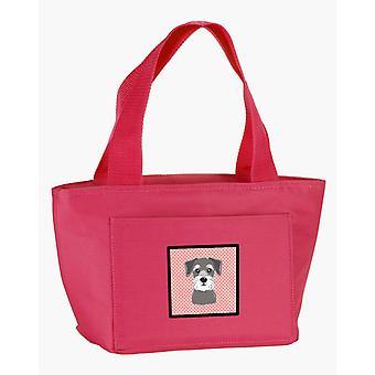 Carolines Schätze BB1206PK-8808 Schachbrett rosa Schnauzer Lunch-Bag