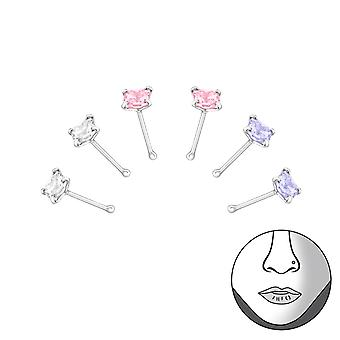 Square - 925 Sterling Silver + Cubic Zirconia Nose Studs - W33353X