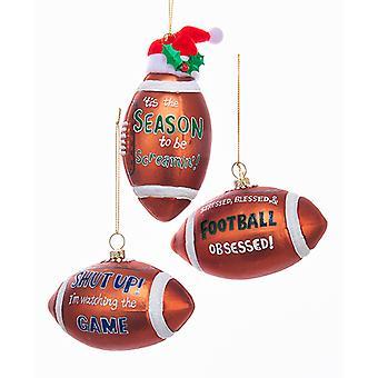 Kurt Adler Football Screaming Obsessed Watching Game Ornaments Set of 3